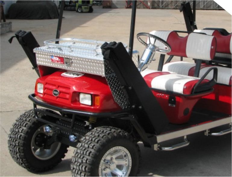 Use the Safety Scabbard™ gun containment system builder to pick your Shop Golf Cart Gun Racks on golf carts for street use, bow rack, trailer gun rack, utv gun rack, automotive gun rack, honda gun rack, golf carts with guns, atv gun rack, horse gun rack, home gun rack, ezgo gun rack, rv gun rack, sedan gun rack,